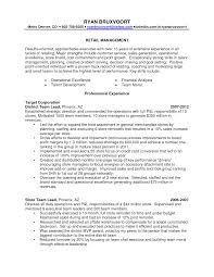 Store Manager Resume Objective Resume Examples For Retail Store