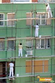 exterior paint application. application of exterior paint