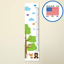 Woodland Growth Chart 321done Growth Chart Woodland Forest Animals With Tree Fox Owl Rabbit Bear Kids Hanging Height Ruler Vinyl Banner Nursery Wall Decor White Sky