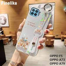 สำหรับOPPO F5 / OPPO A73 / OPPO  A79น่ารักการ์ตูนหมีWinnieและรูปแบบสุนัขสายรัดข้อมือโทรศัพท์กรณีGlossy Blue  Rayสายรัดข้อมือซิลิโคนอ่อน