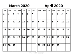 Month Of March Calendar 2020 March And April 2020 Calendar Printable Calendar 2020