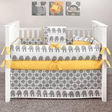 yellow crib elephant baby bedding