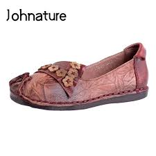 Rubber Johnature 2019 New <b>Spring</b>/<b>Autumn Genuine Leather</b> ...
