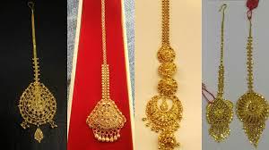Gold Nethichutti Designs Light Weight Gold Maang Tikka Designs