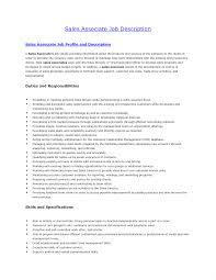 Retail Sales Associate Job Description For Resume Customer Service