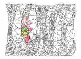 Small Picture Coloring Page for Adults LOVE Printable line art by CandyHippie