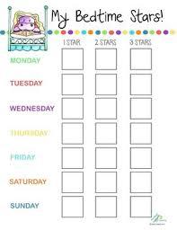 Bedtime Chart Bedtime Star Chart