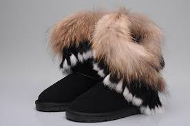 UGG 8288 Fox Fur Short Boots For Women in Chocolate ...