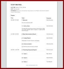 Sample Team Meeting Agenda Template Staff Optional Format Fragment