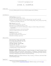 Sample Nanny Resume Sample Resume With Nanny Experience Best Of Objective For A Nanny 87