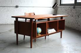 mid century modern desk thunderous danish teak floating top model for accessories