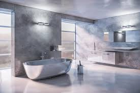 floating bathtub lights. large silver bathroom features free standing soaking bathtub with floating vanity and cabinet also long mirror plus frosted glass windows besides lights l