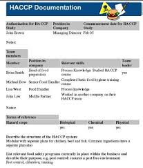 Haccp Plan Template Haccp Procedures Template Pre Requisite Sanitation Procedures