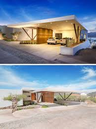 Contemporary Carport Design Modern Multi Level Home Featured Rammed Earth Walls And