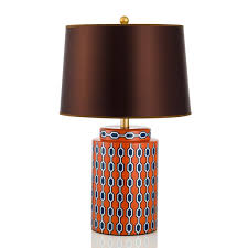 orange table lamp with gold trim teal table lamp38