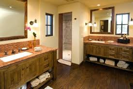 gorgeous two sink bathroom countertop another bathroom opting for separate double vanities the rustic woodwork of