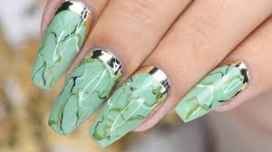 Gel Nail Marble Design Green Marble Nails With Gold Accent Nail Design Nails
