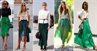 С чем носить зеленую юбку: 25 образов для всех времен года ...