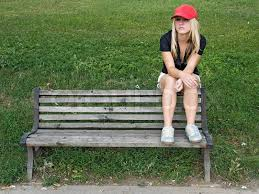 Girl Sit On Bench | Stock Photo | Colourbox