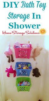 finest diy bath toy storage idea for your shower or bathtub using dollar storage baskets and with toy storage solutions