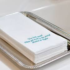 custom printed white fine linen like disposable guest towels with three lines of print in cheltenham