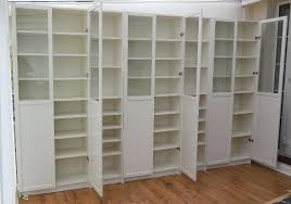 white billy bookcases with panel glass ikea bookcase doors