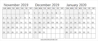 3 Month Calendar November December 2019 January 2020 Wallpaper