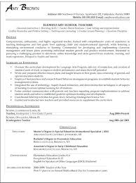 Resume For A Teacher Sample Elementary School With Teaching