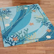 underwater c starfish rectangle rug blue
