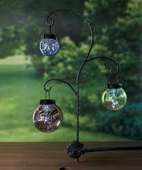 hanging mercury glass solar lanterns garden stake set