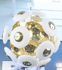 italian murano white glass orbs and brass chandelier for