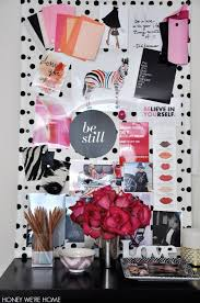 pink black white office black. My Office And New Blog Design With Black, White, Pink Coral. I DIYed This By Wrapping A Cork Board Polka Dot Fabric Added Nailhead Trim. Black White B