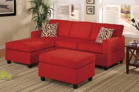 All-In-One Microfiber Plush Sectional Sofa With Ottoman - Red pertaining to  Red