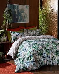 palm print tropical bedding set