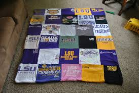 The Iowa Farmer's Wife: LSU T-shirt Quilt & And a few short instructions at the bottom. This project is fairly easy,  but it takes a lot of time and a whole lot of patience. The Craft: T-shirt  Quilt Adamdwight.com