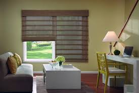 Living Room Blinds Natural Woven Wood Shade Photo Gallery Blindscom