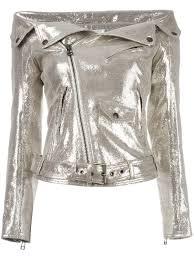 faith connexion off shoulders glittery biker jacket 710 gold women jeans faith connexion uk