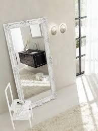 Miroir Pour Salle De Bain Avec Cadre Baroque Finition Blanc Mat