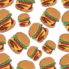 cheeseburger pattern. Wonderful Cheeseburger Delicious Cheese Burger In Seamless Pattern With Color And Outline On White  Background Premium Vector For Cheeseburger Pattern