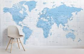 blue detailed map room wall murals