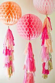 honeycomb pom pom with tissue paper tassles