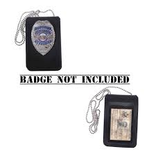 security guard badge template. Black Leather Universal Neck Chain Police Security Guard Badge