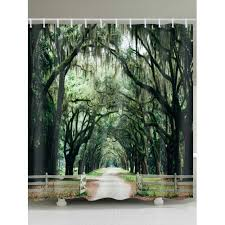 nature forest road print shower curtain bathroom decor