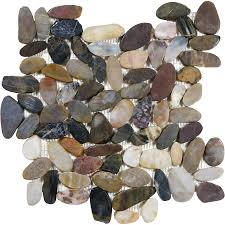 Style Selections River Rock Multicolor Flat Polished Pebble Mosaic Wall  Tile (Common: 13-
