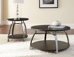 contemporary round cocktail two round end table black silver