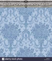 rich blue damask wallpaper Stock Photo ...