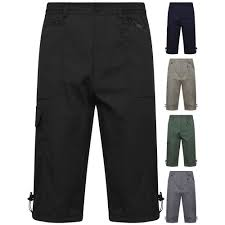 new <b>mens</b> elasticated waist <b>cargo combat</b> long 3/4 <b>shorts summer</b> ...