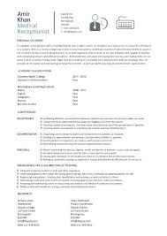 Medical Secretary Sample Resume Entry Level Medical Receptionist
