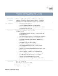 product controller resume sample and template