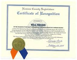 Certificate Recognition Nassau County Certificate Of Recognition Skudin Surf